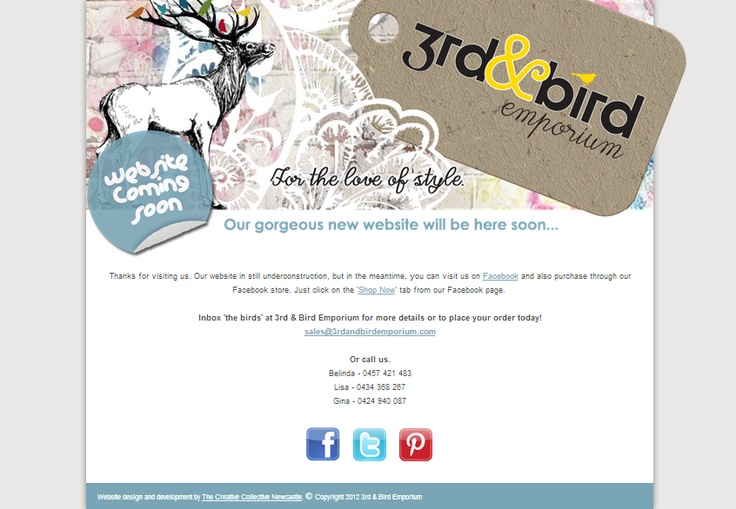 3rdandbirdemporium.com is a start-up online homewares boutique. We had so much fun working on and creating beautiful graphics for their landing page website and social media. http://www.thecreativecollective.com.au/portfolio-web-design