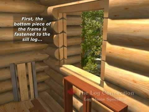 Installation of a window in a pre-cut hand crafted log wall. Opening is beveled and spline cut for an angle iron spline and buck system. After installation o...