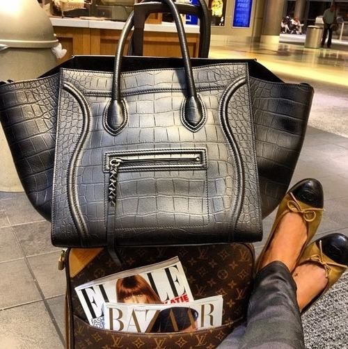 celine croc embossed phantom, louis vuiton luggage, airport style ...