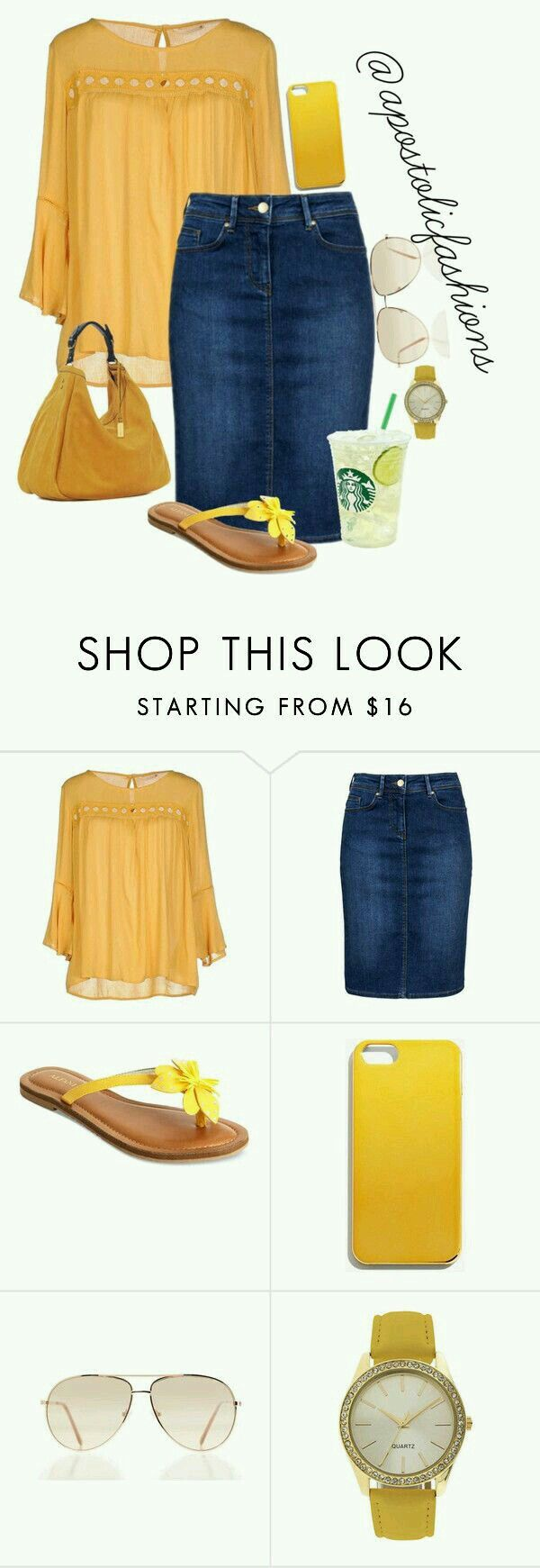 I don't do yellow well but I love this golden yellow top! I have the perfect jean skirt for it!