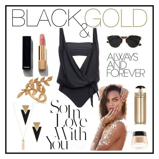 """""""PELSO // black & gold"""" by pelso on Polyvore featuring Allurez, Yves Saint Laurent, Christian Dior, Chanel and Prada"""