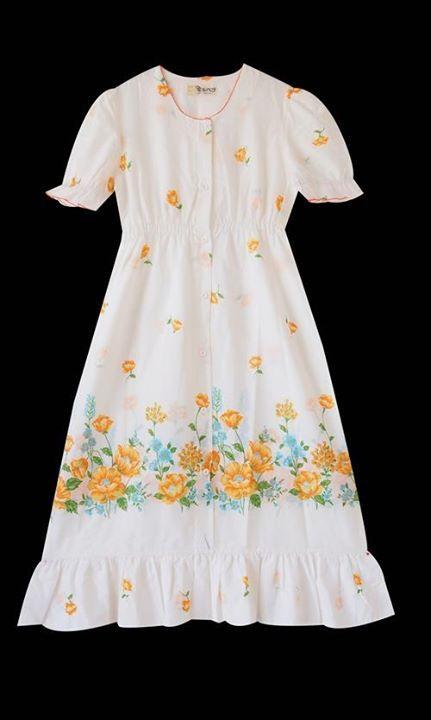 Vintage Hawaiian Dress floral cotton day dress