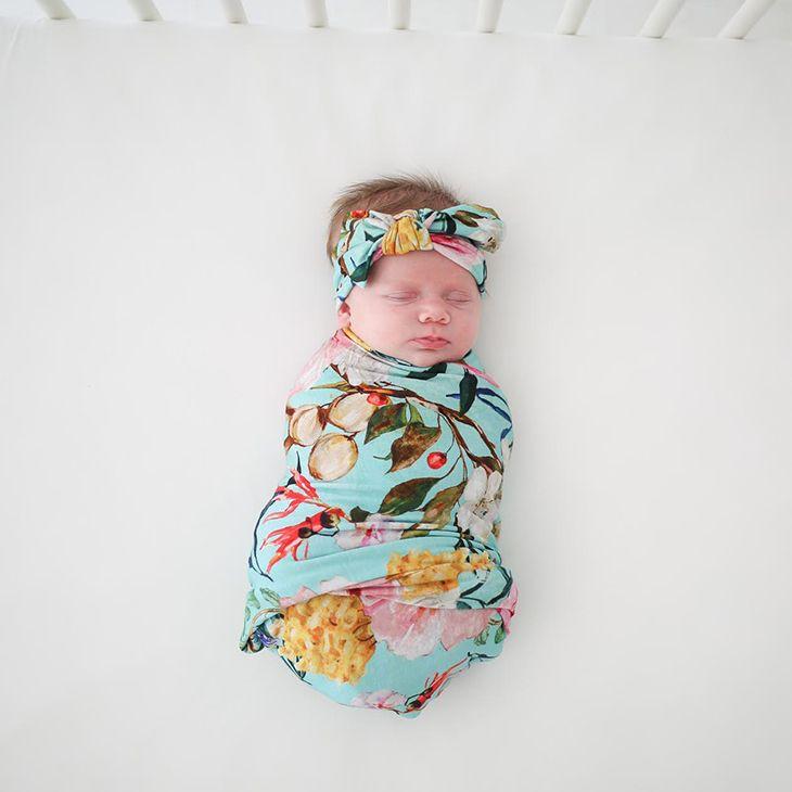 TEAL FLORAL Handmade Baby Swaddle Receiving Blanket