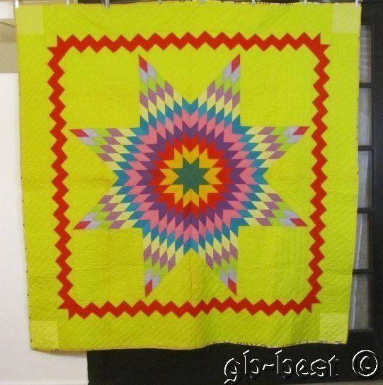 Glowing Vintage Blazing Star Pennsylvania Quilt Streaks of Lightning Yellow | eBay
