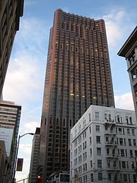 55 Cal­i­for­nia Street, for­merly Bank of Amer­ica Cen­ter, is a 52-story sky­scraper in San Fran­cisco, Cal­i­for­nia. It is the sec­ond tallest build­ing in the city, the largest by floor area, and a focal point of the Fi­nan­cial Dis­trict.