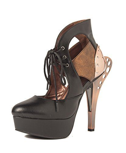 HADES Steampunk 2 Tone Custom Cut Metal Heel Front Lace up Sandals ASMARA  Black-9