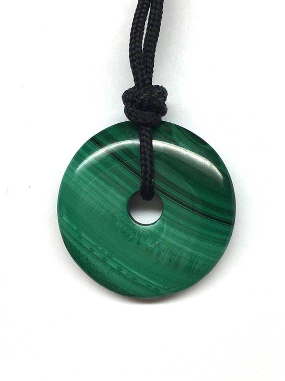 Genuine Malachite Necklace Green Malachite Disc Necklace