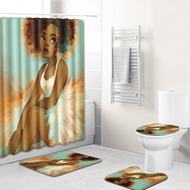 4Pcs//Set African Baotou Woman room Shower Curtain Toilet Cover Mat Rug