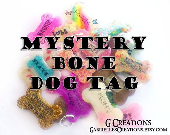 SALE Mystery Bone Dog ID Tag - Surprise Handmade Pet ID - Resin - Colorful - Glitter - Sprinkles Glow in the Dark Dog Collar Accessory