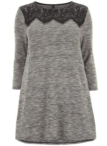 Evans Grey Marl Lace Trim Knitted Tunic - New In - Clothing  - New In