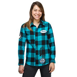 "Teal and black plaid ladies' flannel shirt with ""Artoo"" name patch ironed and tacked on and various other ""patches"" printed on. Large R2-D2 silhouette on the back."