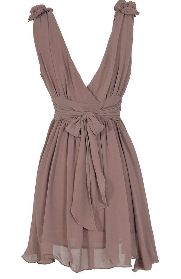 Taupe bow back dress