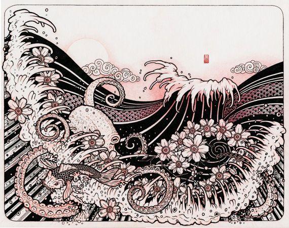 Tato Art Styles: Japanese Tattoo Style Original Sketch Drawing