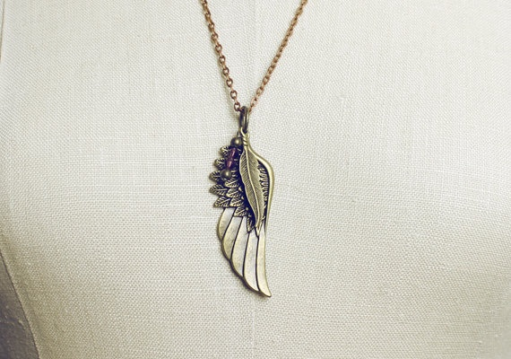 Bronze Wing Leaf & Purple Rhinestone Necklace by pajewelry on Etsy, $11.00