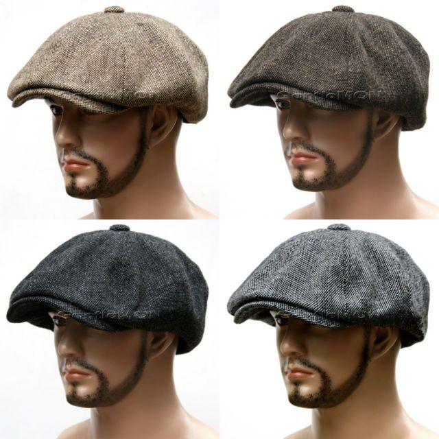 Qlan Black Hats For Women Men Octagonal Cap Wool Button Baseball Caps