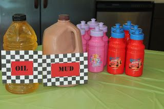 Great idea for serving chocolate milk as mud for the drinks!!