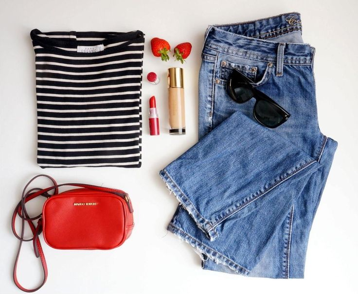 My style of clothes: stripes  boyfriend jeans and red crossbody bag