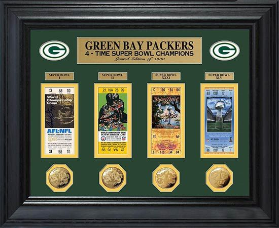 Green Bay Packers Framed Poster Print - Super Bowl 45 XLV - Tickets - Coins