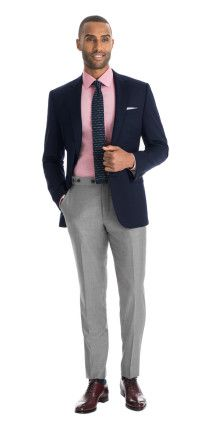 Check out this instant outfit. Matching men's separates couldn't be easier than this. And since this Navy Blue blazer and Light Gray pants combination is made-to-measure you get the fit of a custom suit with the versatility of separates.