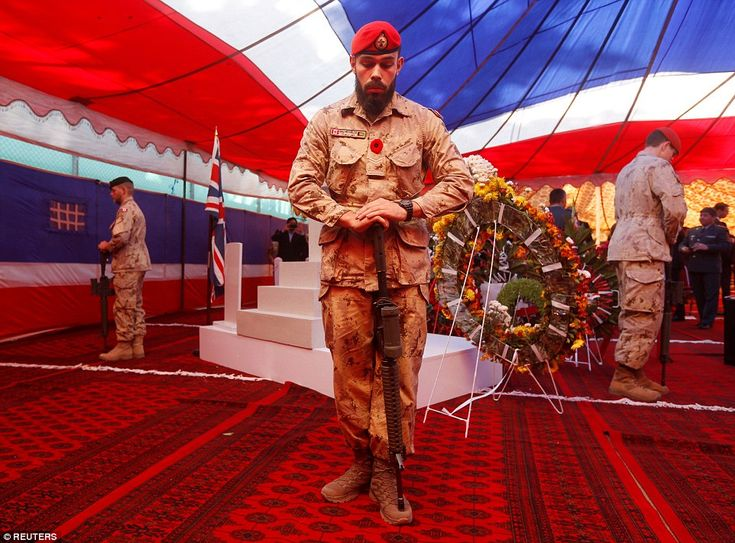 Canadian soldiers attend a ceremony on Remembrance Sunday at the British embassy in Kabul, Afghanistan