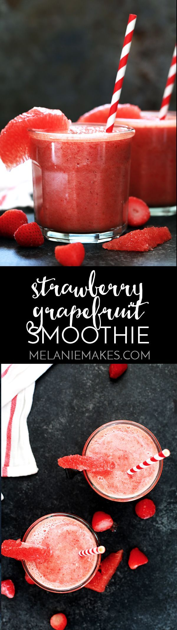 This four ingredient Strawberry Grapefruit Smoothie couldn't be easier! A ruby red grapefruit, strawberries, banana and orange juice are blended together in just seconds to create the perfect easy breakfast or snack. (refreshing drinks grapefruit)