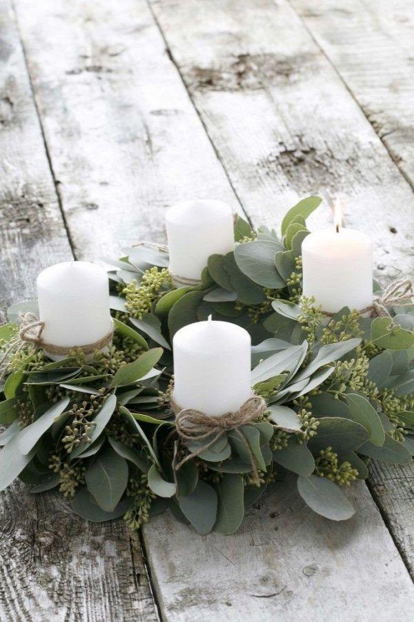 Eucalyptus wrapped candles