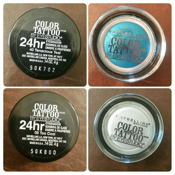 Eye Studio Color Tattoo, 24 Hour Eye Shadow Colors: 40 Tenacious Teal & 05 Too Cool  Opened Used 1 Time Only Maybelline Makeup Eyeshadow