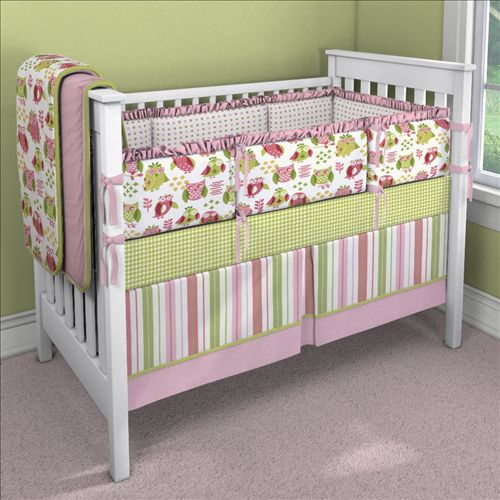 Girl Owl Custom 4-piece Crib Bedding Set    Carousel Designs   This company also sells their owl fabric by the yard.