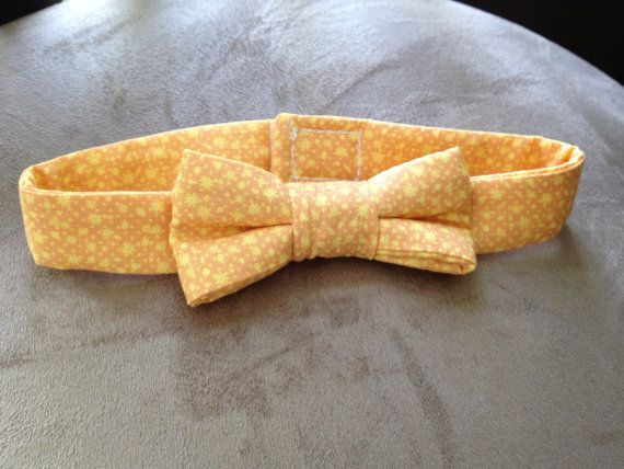 Orange and Yellow Bow Tie Collar for a Dog or Cat by BellieBoop, $9.00