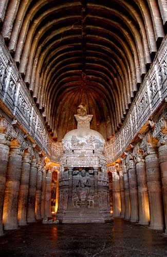 INDIA.  Ajanta Caves in Maharashtra, 2nd century BCE - c.600 CE.  //  The Ajanta Caves consist of about thirty grottoes carved into a horseshoe-shaped cliff-face.  They contain what is considered to be some of the finest Indian and Buddhist art in existence.