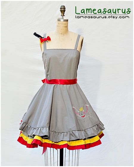 In love with this dress, really want it!  Dumbo Retro Style Dress with embroidery by Lameasaurus on Etsy, $120.00