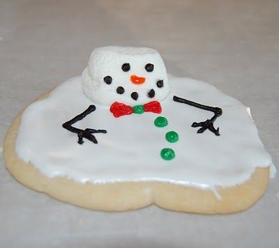 melted snowmen cookies.  This is hilarious!  Most of my cookies are always so haphazard shaped anyway, I think I could even pull this off!