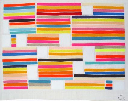 LOVE A GOOD STRIPE: Colour, Colors Embroidery, Felt, Art Inspiration, Neon, Sewing Quilts Crafts, Colors Quilts, Rachel Castles, Vintage Linens