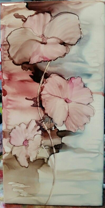 Soft petal flowers in alcohol ink on 8x4 tile by Tina