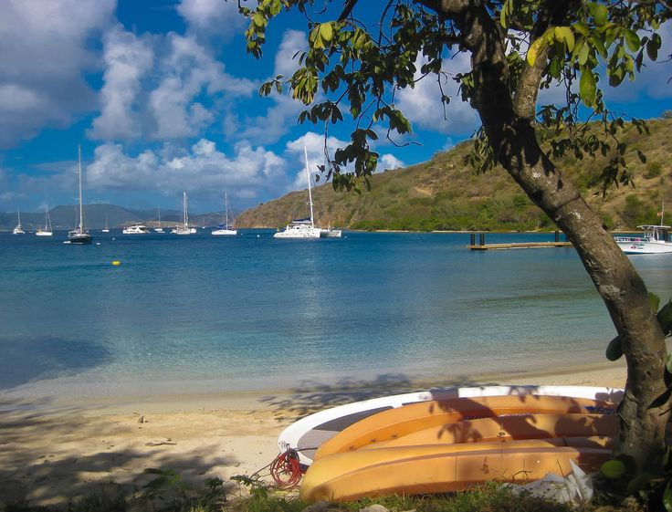 View from The Bight, Norman Island. BVI sailing trip. Our boat is swinging on a mooring ball with the others.