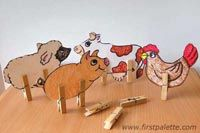 Craft these cute clothespin farm animals and build a box corral for them to sleep in.