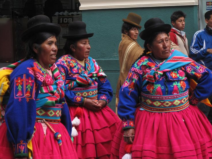 Proud women in Bolivia's native costumes