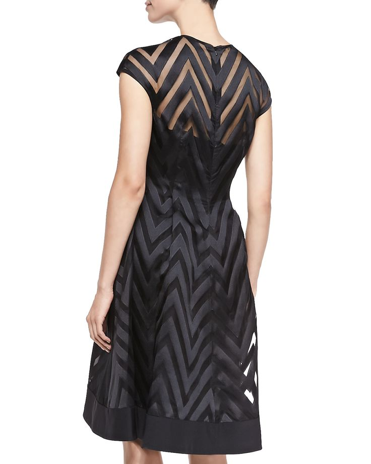 Cap-Sleeve Sheer Zigzag Dress   Products   Pinterest   Dresses and Ps