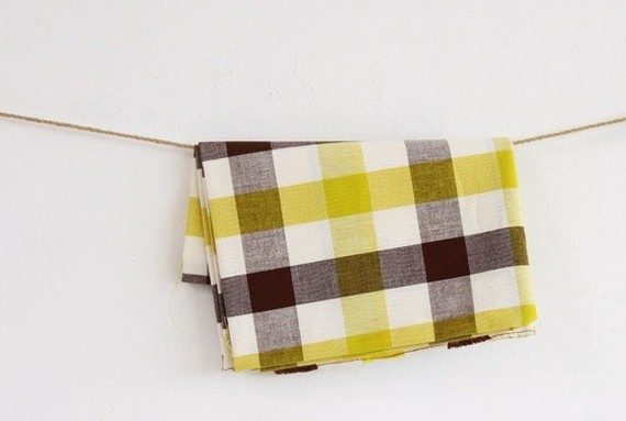 yellow and brown gingham