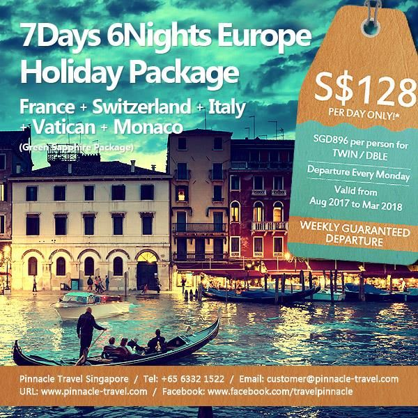 7 Days 6 Nights Western Europe: France - Switzerland - Italy - Vatican - Monaco (Green Sapphire Package)  Spend the morning with the local guide as you explore Venice, the most magical of cities. Begin with a waterbus ride to San Marco Island, a memorable crossing of the lagoon that gives you a real taste of the city's charm as you approach the dreamy spires and distinctive waterside buildings.