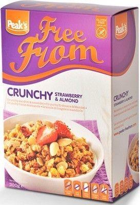 PEAK'S déjeuner crunchy fraise & amande sans gluten 300g SPEAK'S cunchy fraise et amande, un petit déjeuner ou en-cas sans gluten à base de sarrasin, des flocons de millet, des flocons de maïs et du riz soufflé. Source d'énergie délicieuse et saine. www.chockies.net