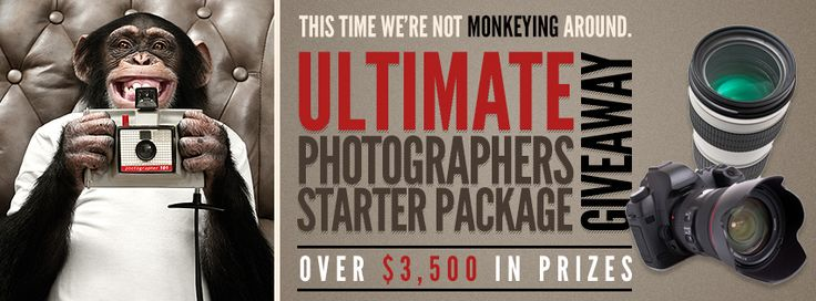 Over $3,500 in prizes!!  Come enter the ULTIMATE PHOTOGRAPHERS STARTER PACKAGE. A giveaway SO big we think you'll be dreaming about it at night!
