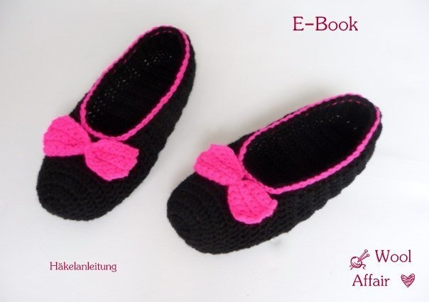 Häkelanleitung Damen BallerinasDIY crochet pattern adult house shoes