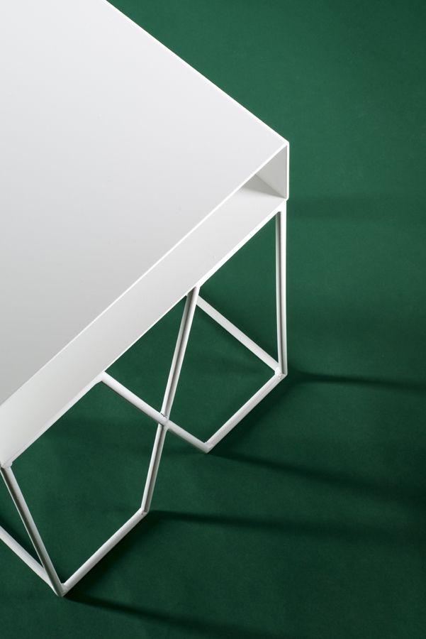 Modern white bedside table, powder coated steel.