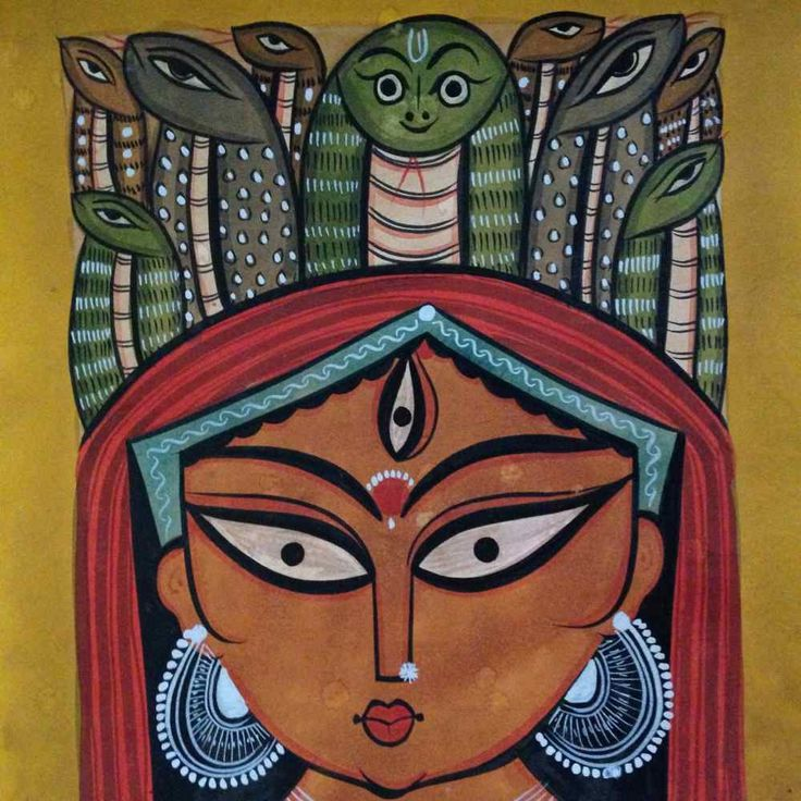 Durga with Snake Headgear – Bengal Pattachitra