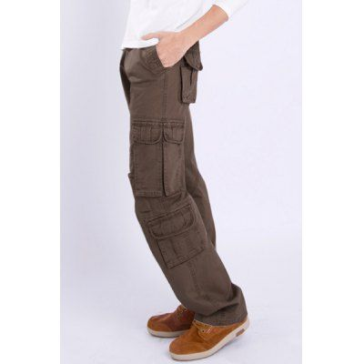 Casual Loose Fit Solid Color Multi-Pockets Zip Fly Cargo Pants For Men #shoes, #jewelry, #women, #men, #hats, #watches