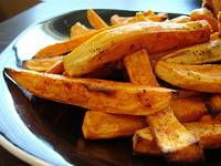 Baked sweet Potato Fries    My hubby preferred these over fat fried white potatoes before he knew they were healthy!  These recipes are what I call gateway foods, which helps a person transition from unhealthy choices to healthy choices.