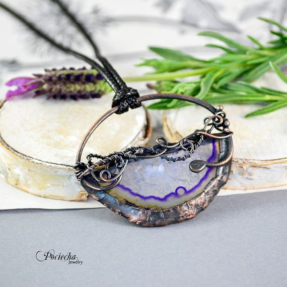Agate Slice Necklace Wire Wrapped Electroformed Jewelry