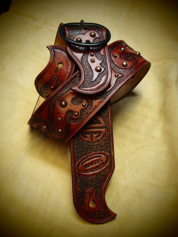 Leather Guitar Strap Antique Red Hand Tooled Handmade