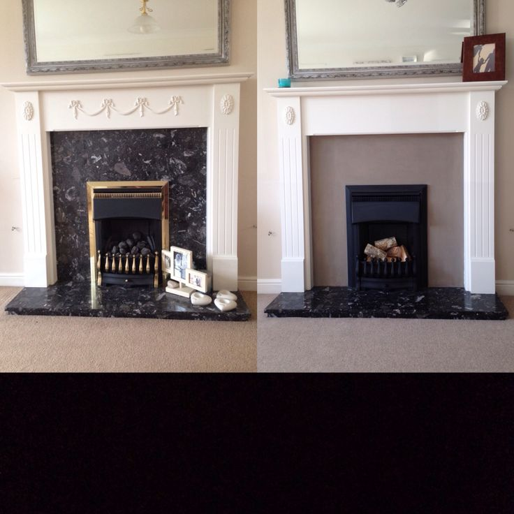 Easy Fireplace upcycle. Annie Sloan French Linen painted onto black marble. Fire spray painted from gold to Matt black using heatproof spray paint. Decorative bows chipped off, polyfilled and sanded. Emulsion paint all over wood in Dulux Timeless. Coals removed and replaced with logs! #fireplace #makeover #upcycle #anniesloan